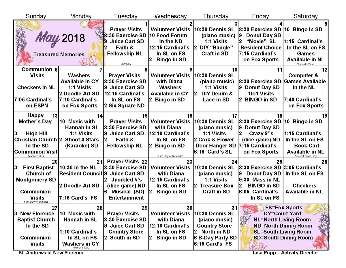 Wellness Activity Calendar for St. Andrew's at New Florence Nursing Home